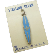Enameled Surf Board with Surfer's Cross Sterling Silver Charm