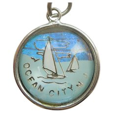 Ocean City NJ New Jersey Sterling Silver Butterfly Wing Bubble Charm by Hoffman - Sailing, Sail Boat
