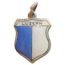 Luzern / Lucerne Switzerland - Vintage Enamel and 800 Silver Souvenir Travel Shield Charm