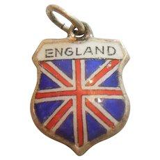 England Union Jack- Vintage Enamel and Sterling Silver Souvenir Travel Shield Charm