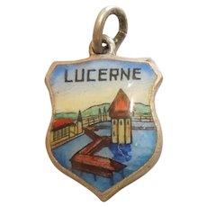 Kapellbrücke - Lucerne / Luzern  Switzerland - Vintage Enamel and 800 Silver Souvenir Travel Shield Charm