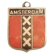 Amsterdam Netherlands / Holland Flag - Vintage Enamel and 835 Silver Souvenir Travel Shield Charm