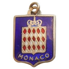 Monaco / French Riviera - Vintage Enamel and Silver Souvenir Travel Shield Charm