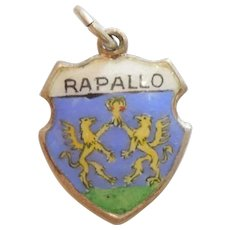 Rapallo Italy - Vintage Enamel and 800 Silver Souvenir Travel Shield Charm