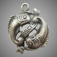 Pisces - The Fish - Vintage Sterling Silver Cut-out Zodiac Charm by Cini
