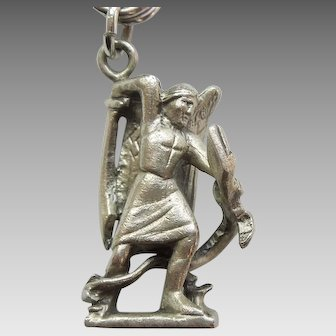 St Michael the Archangel Slaying Dragon / Serpent / Devil 3D Sterling Silver Charm - Hayward