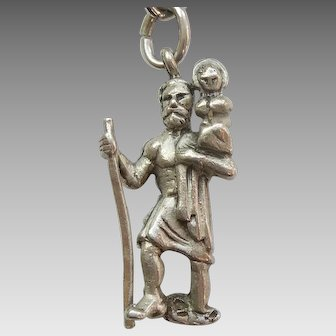 St Christopher Carrying Christ Child 3D Sterling Silver Figural Charm / Pendant- Hayward
