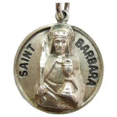 St Barbara Sterling Silver Religious Medal / Charm / Pendant - Chapel