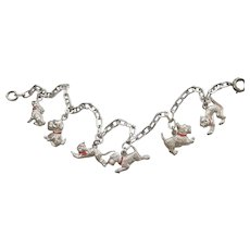 Sterling Silver Terrier Puppy Dog, Kitty Cat, Bunny Rabbit Charm Bracelet