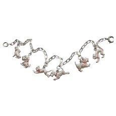 Sterling Silver Terrier Puppy Dog, Kitty Cat, Bunny Rabbit Charm Bracelet