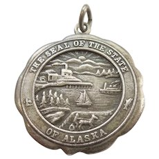 Sterling Silver State Seal of Alaska Charm