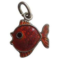 Sterling Silver and Red Guilloche Enamel Fish Charm - Volmer Bahner VB Denmark