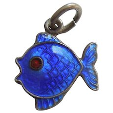 Sterling Silver and Dark Blue Guilloche Enamel Fish Charm - Volmer Bahner VB Denmark