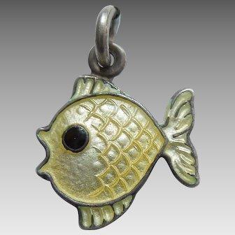 Sterling Silver and Light Yellow Guilloche Enamel Fish Charm - Volmer Bahner VB Denmark