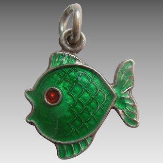 Sterling Silver and Dark Green Guilloche Enamel Fish Charm - Volmer Bahner VB Denmark