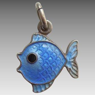 Sterling Silver and Light Blue Guilloche Enamel Fish Charm - Volmer Bahner VB Denmark