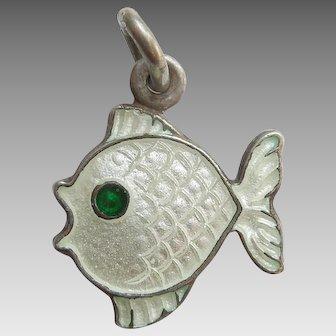 Sterling Silver and White Guilloche Enamel Fish Charm - Volmer Bahner VB Denmark