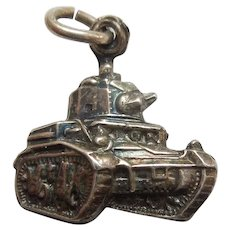 1940's United States US Military TANK Sterling Silver Charm