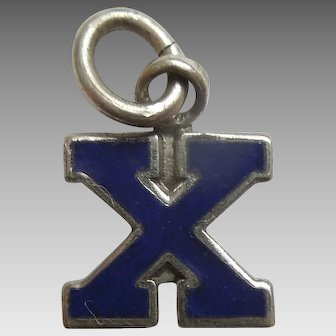 Vintage 1940s Sterling Silver and Blue Enamel Letter 'X' Charm / Initial