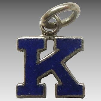 Vintage 1940s Sterling Silver and Blue Enamel Letter 'K' Charm / Initial