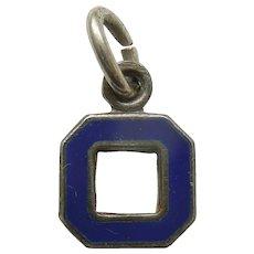 Vintage 1940s Blue Enamel Letter 'O' Charm / Initial