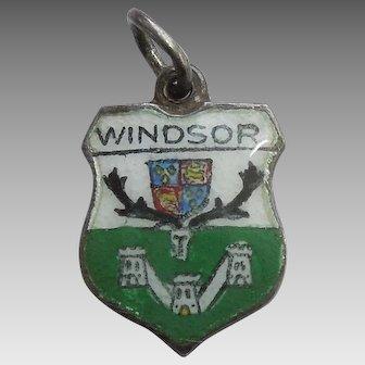 Windsor England Vintage Enamel and Silver Souvenir Travel Shield Charm