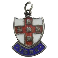 City of YORK, England, Coat of Arms -  Enamel and Sterling Silver English Souvenir Travel Shield Charm