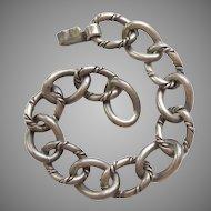 Heavy Rope Link Georg Jensen Inc USA / La Paglia Sterling Silver Charm Bracelet - 7 1/2''