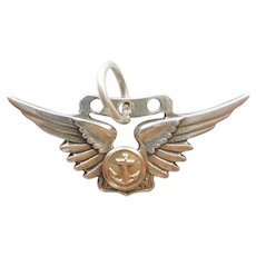 US Navy Naval Combat Aircrew Badge Insignia with Aviator Wings Anchor - AMICO Sterling Silver Military Charm