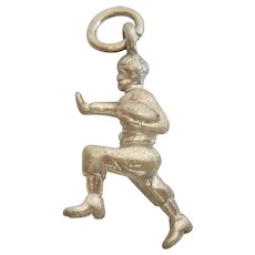 Vintage 3D Football Player - Running Back - Sports Sterling Silver Charm