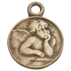 Tiny Pensive Angel Silver Disc Charm