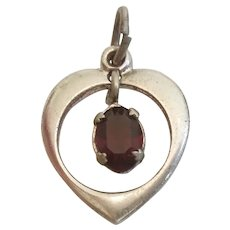 Garnet-Red Rhinestone Dangle Birthstone in Open Sterling Silver Heart Charm