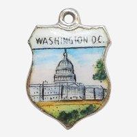 U.S. Capitol Building Washington D.C. Enamel and 925 Sterling Silver Souvenir Travel Shield Charm
