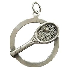 Beau Sterling Silver Tennis Racquet and Ball Charm - Double-sided - Racket, Sports, Wimbledon