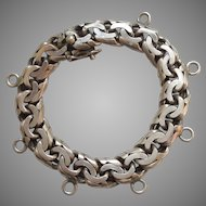 """Heavy Mexican Sterling Silver Starter Charm Bracelet - Intricate Links and Nice Safety Catch - Mexico  - 7 3/8"""""""