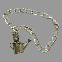 Hand & Hammer Beatrix Potter Peter Rabbit / Bunny in a Watering Can Sterling Charm / Pendant on H&H Starter Bracelet - Retired, Easter