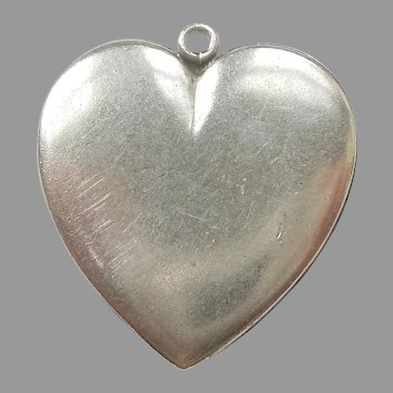 Large Sterling Silver Flat Puffy Heart Charm or Pendant