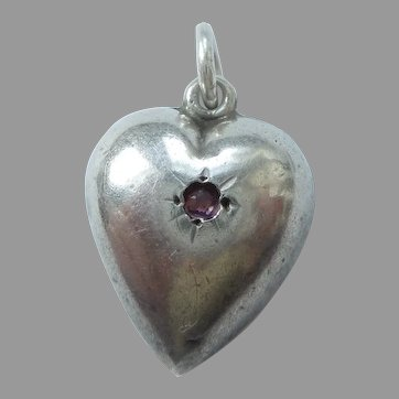 Extra Chubby Sterling Silver Puffy Heart Charm with Pink Stone - Engraved 'Hardy'