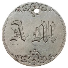 Engraved Initials 'AM' - Large Floral Victorian Love Token - 1857 Seated Liberty Quarter