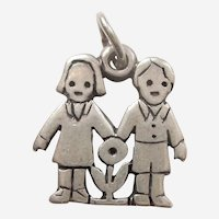 James Avery 'Love Is' Girl and Boy with Flower Sterling Silver Charm