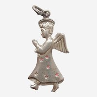 Praying Angel with Pink Enamel Stars - Griffith Sterling Silver Charm