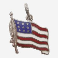 American Flag with Red White and Blue Enamel - Wells Sterling Silver Charm