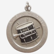 Drum and Bugle Corps Sterling Silver and Black Enamel Charm - Wells Tophat