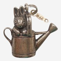 Hand & Hammer Beatrix Potter Peter Rabbit / Bunny in a Watering Can Sterling Charm / Pendant - Retired