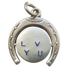 Sterling Silver and Blue Enamel 'I Love You' Horseshoe Moving Spinner Charm