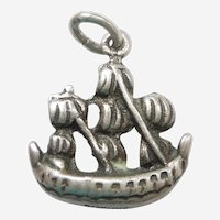 3D Sailing Ship Galleon Sterling Silver Travel Charm