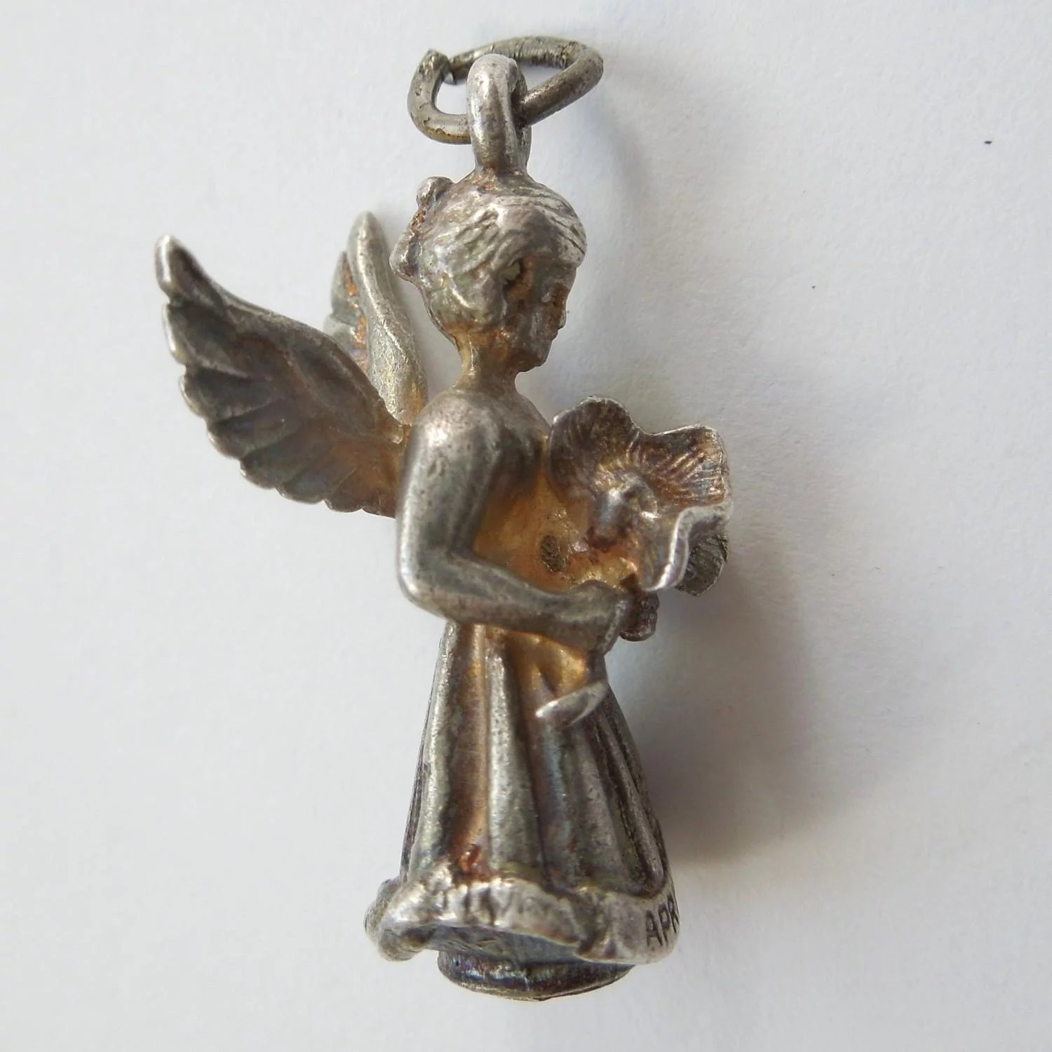 69a2357d8f562 Hayward Sterling Silver Angel Charm - April Sweet Pea Flower of the Month
