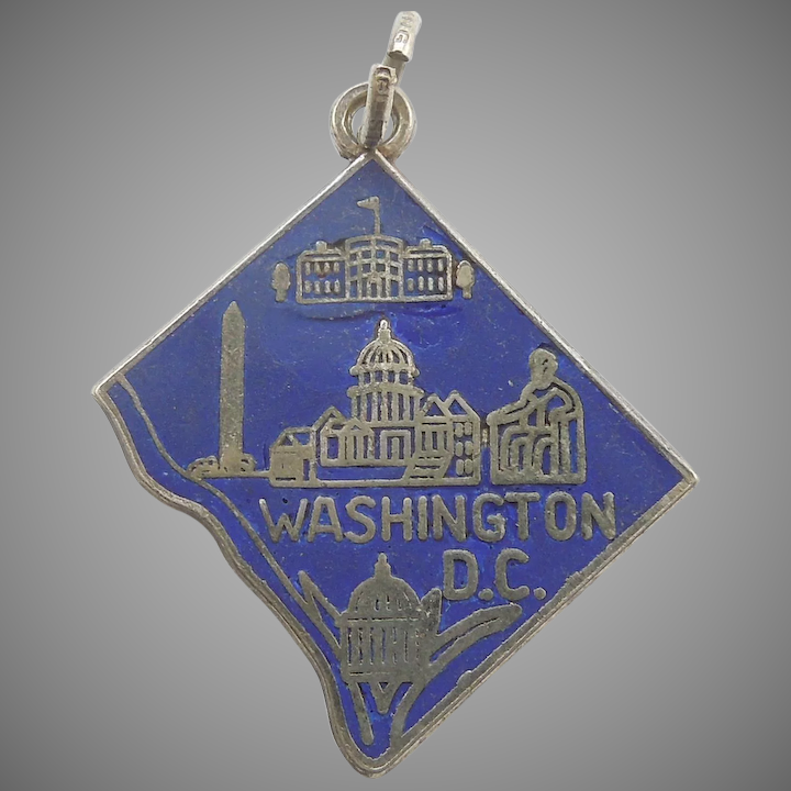 Sterling Silver and Blue Enamel Washington DC Map and Monuments Charm