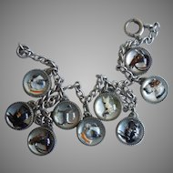 NINE Reverse Painted Intaglio Glass / Crystal Bubble Charms - Dogs and Horses - Sterling Charm Bracelet