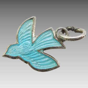 Flying Swallow Bird Sterling Silver and Blue Enamel Charm